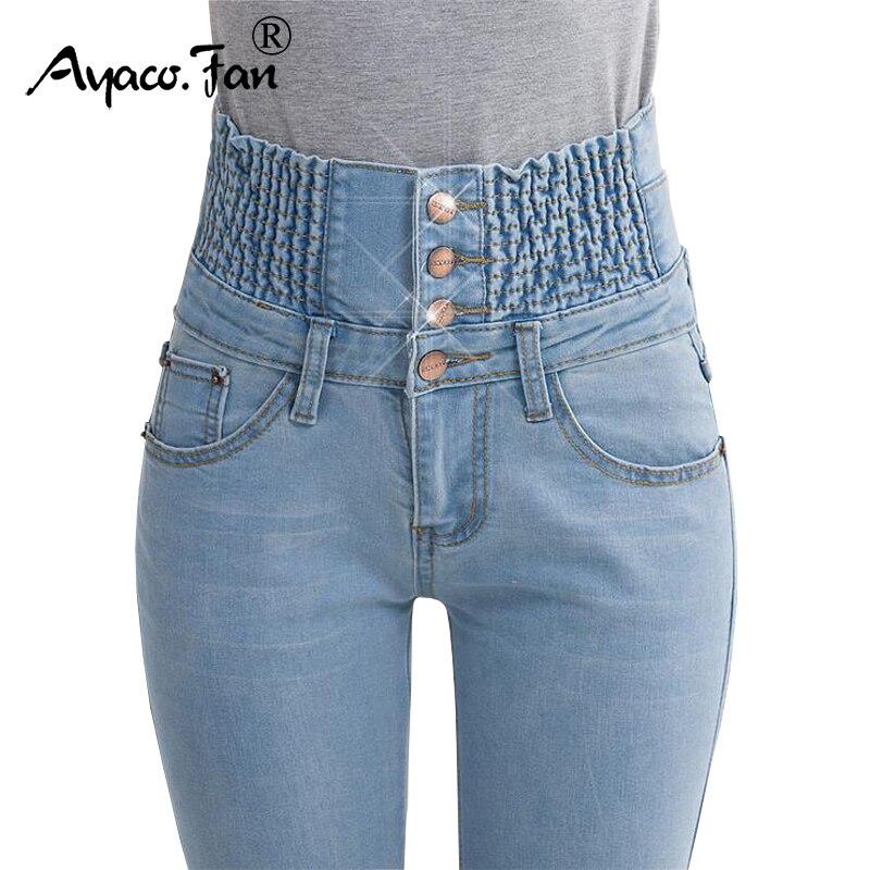 2018 Джинсы для женщин женские Высокая талия эластичные узкие джинсовые длинные узкие Брюки для девочек Большой размер 40 Женские Джинсы для женщин Camisa feminina леди жира Мотобрюки