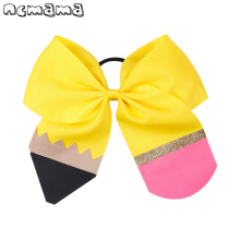 b05890c40b856 Fashion Pencil Print Glitter Cheer Bows Back To School Barrettes Elastic  Hair Rope For Kids Hair