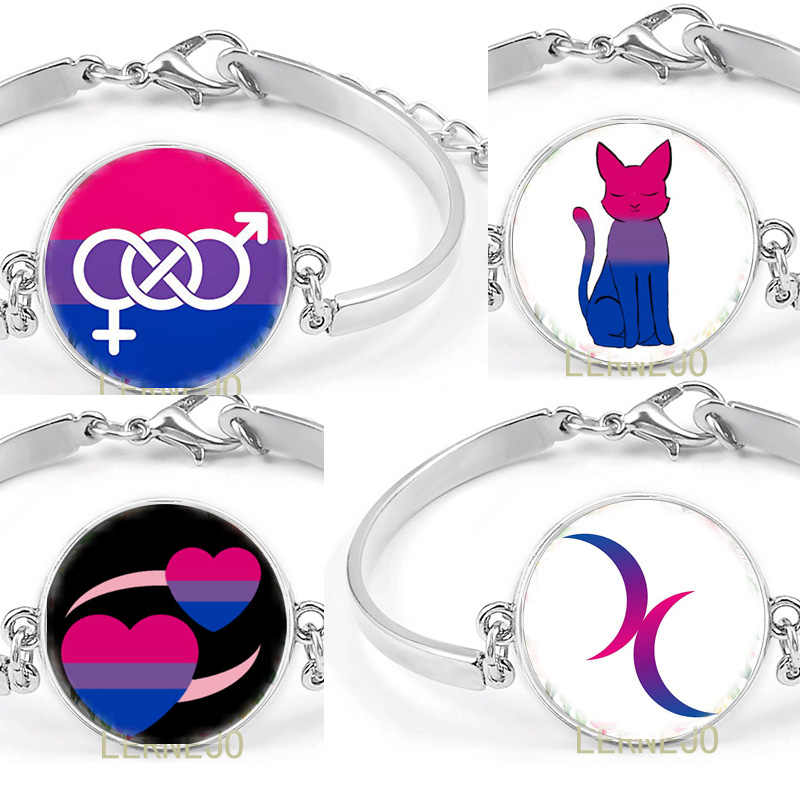 Vlag Biseksuele Top Symbool Armband Badge Pride Twee Hart Crescent Moon LOGO Bangle Voor Best Friends Forever Zuster Pols Band
