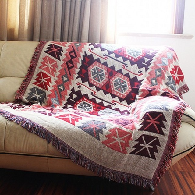 Double Sides Useful Geometric Pattern Cotton Blanket Durable Wearable Comforter Sofa Cover Pet