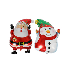 2Pcs Merry Christmas Party Balloons Santa Claus and Snowman Foil Balloon for Decoration
