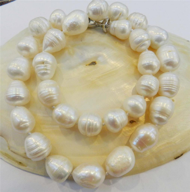 RHJ00142 BIG RICE SHAPE 12-13MM WHITE REAL NATURAL PEARL NECKLACE