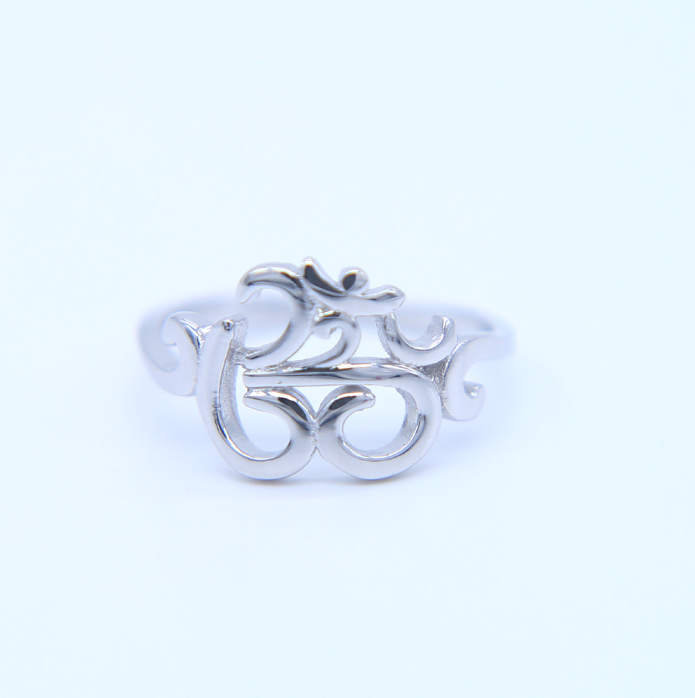 New 925 sterling silver OHM Buddhist AUM OM Ring Hinduism Yoga India Outdoor Sport Women Ring Religious Symbol Jewelry