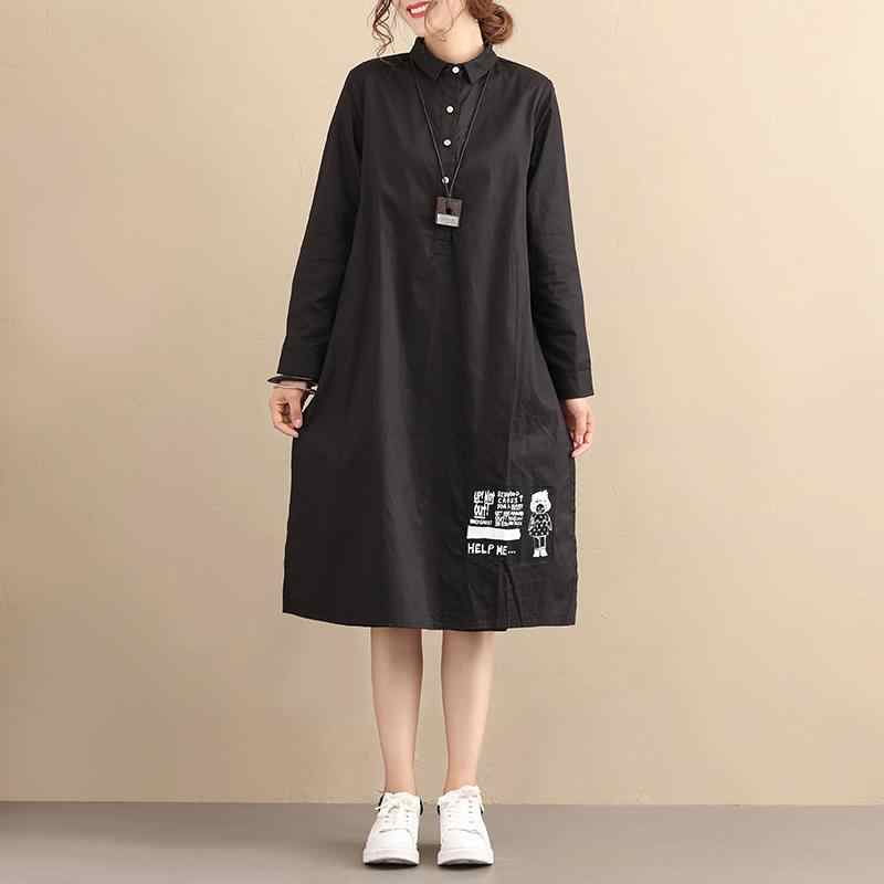14cc23607 BUYKUD Casual Loose Cotton Long Sleeve Pleated Black Dress Solid Stand  collar Button Pocket Dresses 2018
