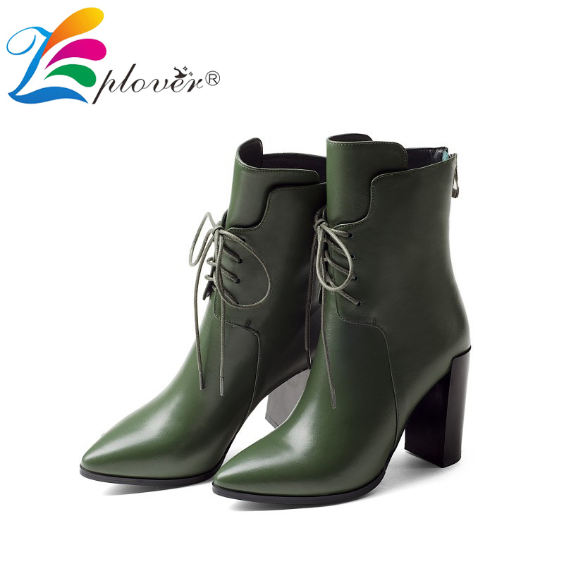 Women Genuine Leather Boots Thick Heels Ankle Boots for Women High Heels Shoe Woman 9cm Lace Up Pointed Toe Botas Zapatos Mujer 4 cm thick high heels british fashion men wedding nightclub dress genuine leather shoes pointed toe lace up shoe zapatos hombre