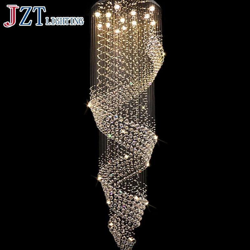 T Best Price K9 Crystal Ceiling Lights Long Suspension Wave Dining Room Lamp Mordern Droplight