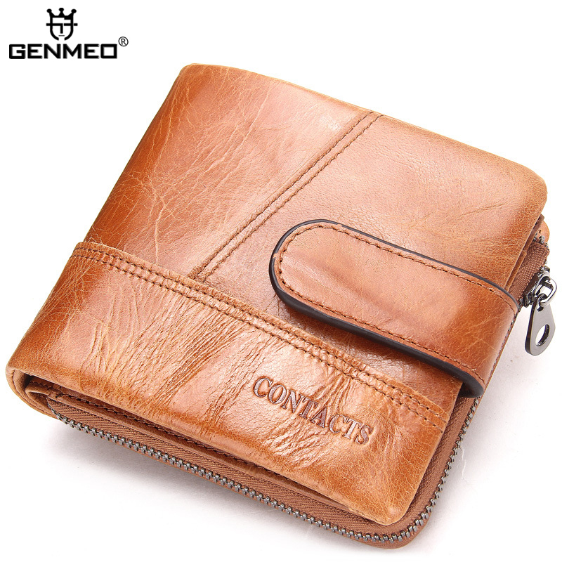 New Arrival Genuine Leather Wallets Men Short Cow Leather Clutch Bags Real Leather Wallet Credit Card Holder Male Purse Bolsa