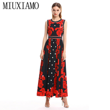 MIUXIMAO 2019 Spring&Summer Long Dress New Arrival Fashion Sleeveless Floral Dress Print Ankle-Length Long Dress Women vestido купить недорого в Москве
