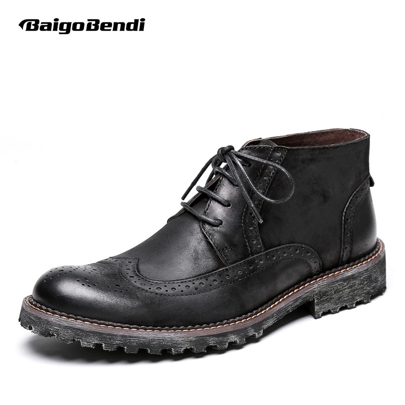 US Size 6-10 Two Tone Genuine Leather Lace Up Formal Dress Fretwork Oxford Mens Casual Wing Tip Brogue Martin Boots us 6 10 mens black genuine leather lace up fur lined ankle boots winter warm oxford dress shoes