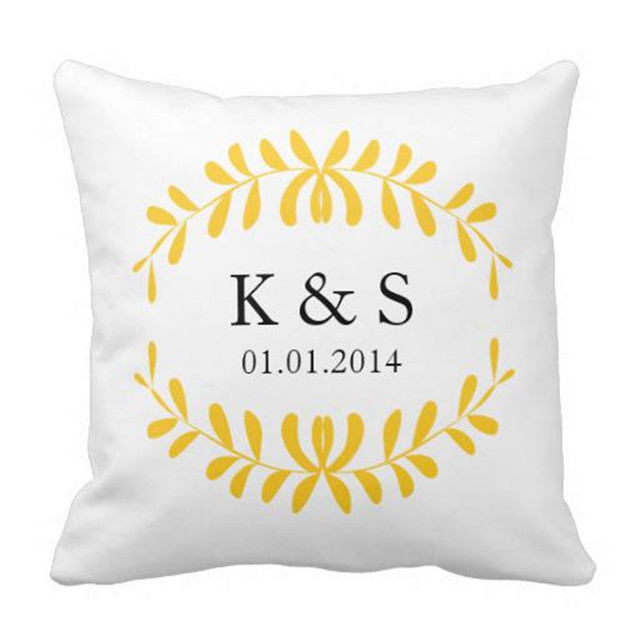 Canvas Custom Cushion Cover Personalized Name Initials Pillow Cases Decorative Sofa Throw