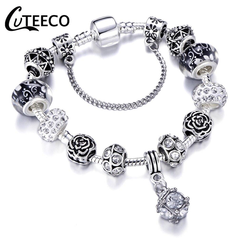 CUTEECO 925, модный серебряный браслет с шармами, браслет для женщин, Хрустальный цветок, сказочный шарик, подходит для брендовых браслетов, ювелирные изделия, браслеты - Окраска металла: AE0232