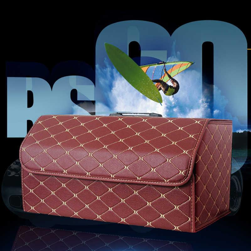 Multipurpose Collapsible Car Trunk Storage Organizer with Lid - Portable Car Storage Box Bin PU Leather Car Trunk Organizer