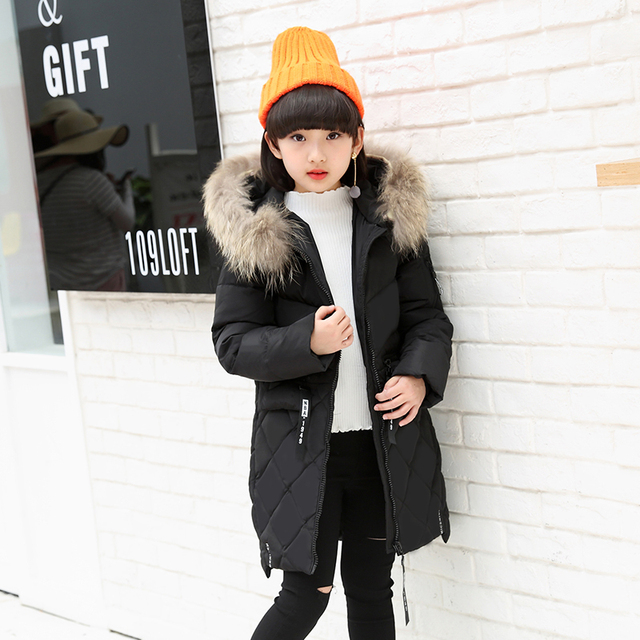 5ca586c93833 10 years black color Fur Hooded Winter Jacket For Girls Down Parka ...