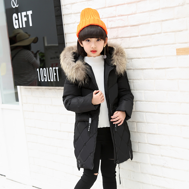 2017 Fur Hooded Baby Teenage Winter Jacket For Girls Down Parka Girls Winter Coat Long Warm Thick Kids Children's Clothing olekid 2017 new cartoon rabbit winter girls parka thick warm hooded children outerwear 5 14 years teenage girls sweater coat