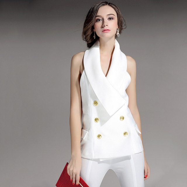 2017 Spring Summer Women's Vest High Quality Double Breasted Sexy Backless Sleeveless Female Vest Black White Ladies Waistcoat