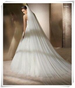Image 4 - Ücretsiz kargo gerçek fotoğraf 5M beyaz/fildişi düğün duvağı çok katmanlı uzun gelin peçe kafa peçe düğün aksesuarları sıcak satış MD03034