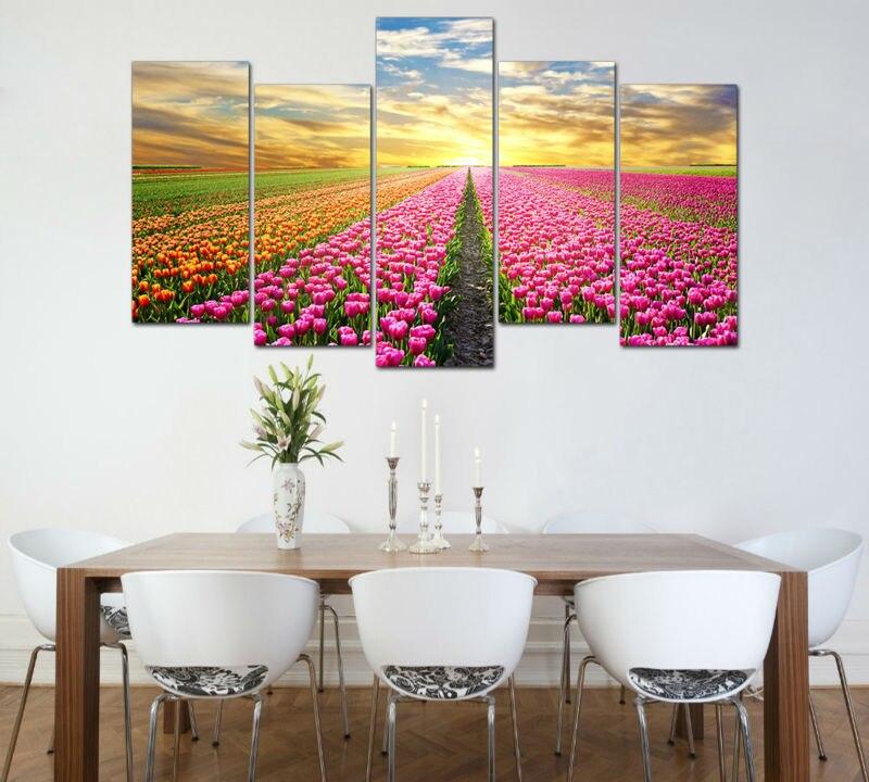 5 패널 큰 인쇄 그림 아침 핑크 오렌지 튤립 꽃 캔버스 인쇄 홈 장식 벽 예술 거실