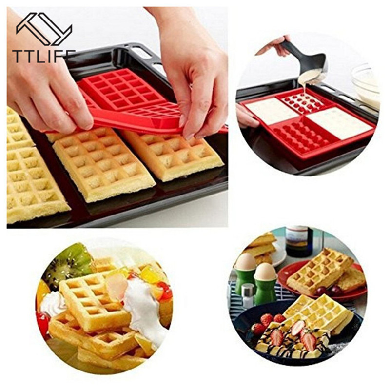 TTLIFE rectangle and love Heart shape Silicone waffle Muffin mold Cake mold DIY Baking Love waffle mold cake Decorating Tools