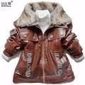 Дети Куртка мальчиков Верхняя Одежда Зимой дети Куртки Детские Мальчики Искусственной Кожи Меховой Воротник Пальто Дети И Пиджаки Детская Младенческой Пальто