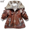 Kids Jacket boys Outerwear Winter children's Jackets Baby Boys Faux Leather Fur Collar Coat Kids Outwear Children Infant Coat