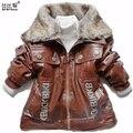 La Chaqueta de los niños prendas de Vestir Exteriores del Invierno de los niños Chaquetas de Cuello de Piel de Imitación de Cuero de Los Bebés Cabritos de la Capa Outwear Abrigo de Bebé