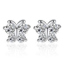 La mariposa de plata esterlina 925 sueño superllamativas Zircon pendiente de plata para las mujeres pendientes de plata-joyería de Brincos VES6416