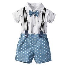 Newborn Baby Boy Clothing Set 2019 Summer Anchors Printing Bow tie Shirts+Suspender Star Shorts 2pcs Infant Outfits