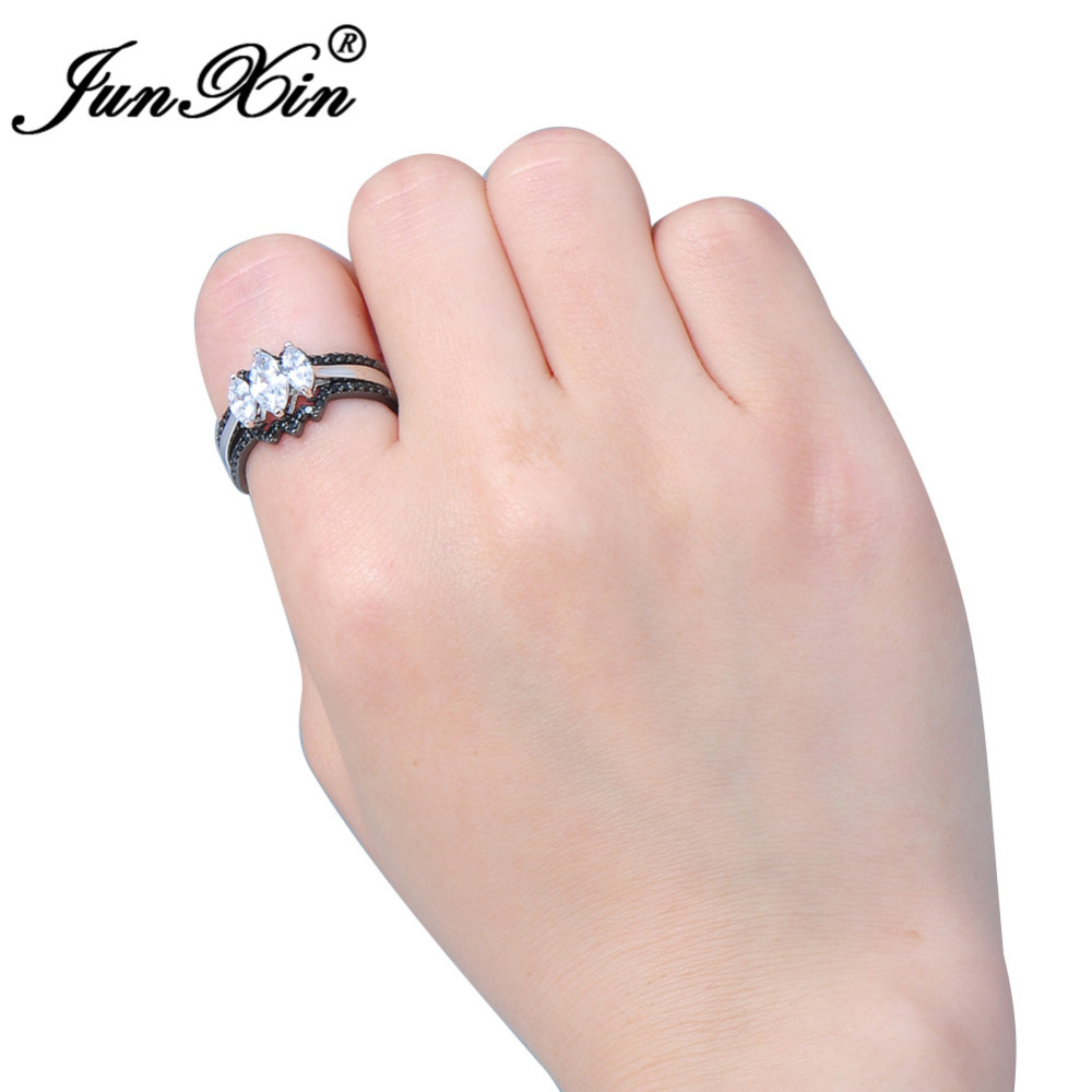 JUNXIN Unique Jewelry 3 pcs Horse Eye Style White Zircon Ring Set ...