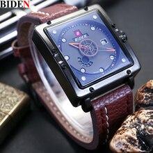 BIDEN мужчины Часы Лучший Бренд Класса Люкс Повседневная Кварцевые Часы для Дайвинга Часы Кожа Спортивные Наручные Часы relojes hombre Relógio masculino Часы