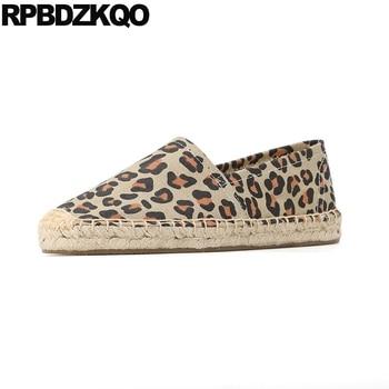 harajuku large size retro canvas shoes old peking cloth flats hemp espadrilles striped denim leopard print jeans round toe women