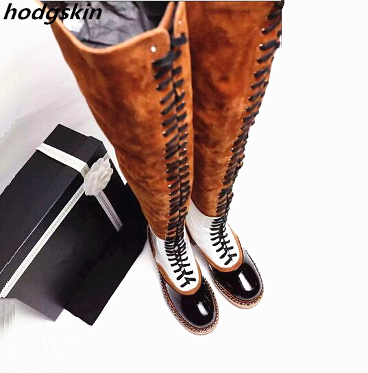 2019 Brand Genuine Leather Orange White Patchwork Lace Up Thigh High Boots Low Heel Long Boots 42 Women Booties Zapatillas2019 Brand Genuine Leather Orange White Patchwork Lace Up Thigh High Boots Low Heel Long Boots 42 Women Booties Zapatillas