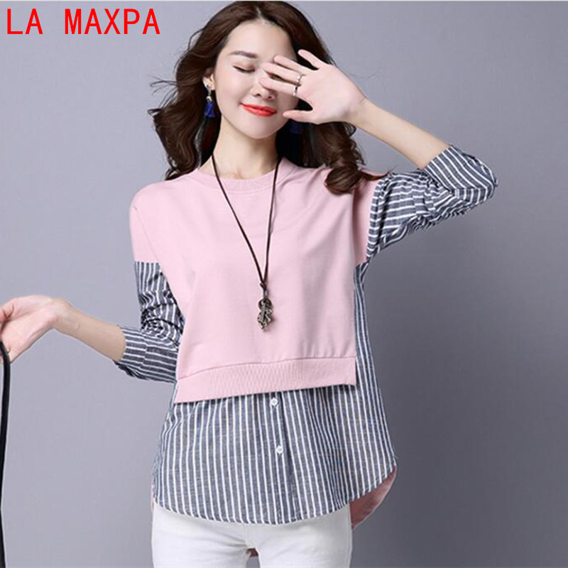 2019 Autumn   Blouses     Shirt   Female Long Sleeve Casual Striped Patchwork Fake Two Pieces Women   Blouses   Loose Lady Tops Blusas