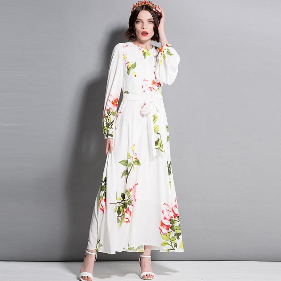 bbf45adc1f Fashion Ladies Dresses 2018 Runway New Summer long Sleeve Flower Print  Sashes Party Floral Elegant Maxi long Dress