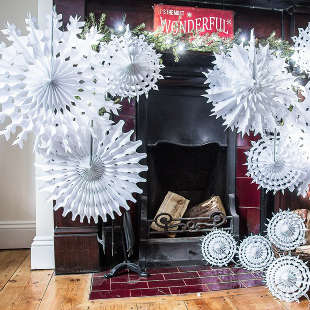 Paper Tissue Snowflake Christmas Decorations By Pearl And: 1pc 40cm White Honeycomb Tissue Paper Snowflake Paper Fans
