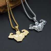 MCSAYS Punk Jewelry Stainless Steel Muscle Men Upper Body Pendant Box Chain Sport Necklace Bikers Jewelry