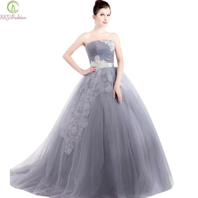 3fce02aae De alto grado ssyfashion colorido vestido gris sin tirantes appliques del  cordón del a-line