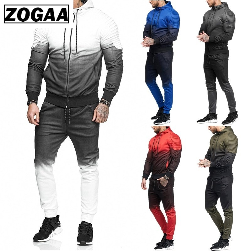 Zogaa Casual Men's Set Tracksuit Outwear Sporting Track Suit Tops And Pants Long Sleeve Sweatshirts Men Tracksuits Clothes Men