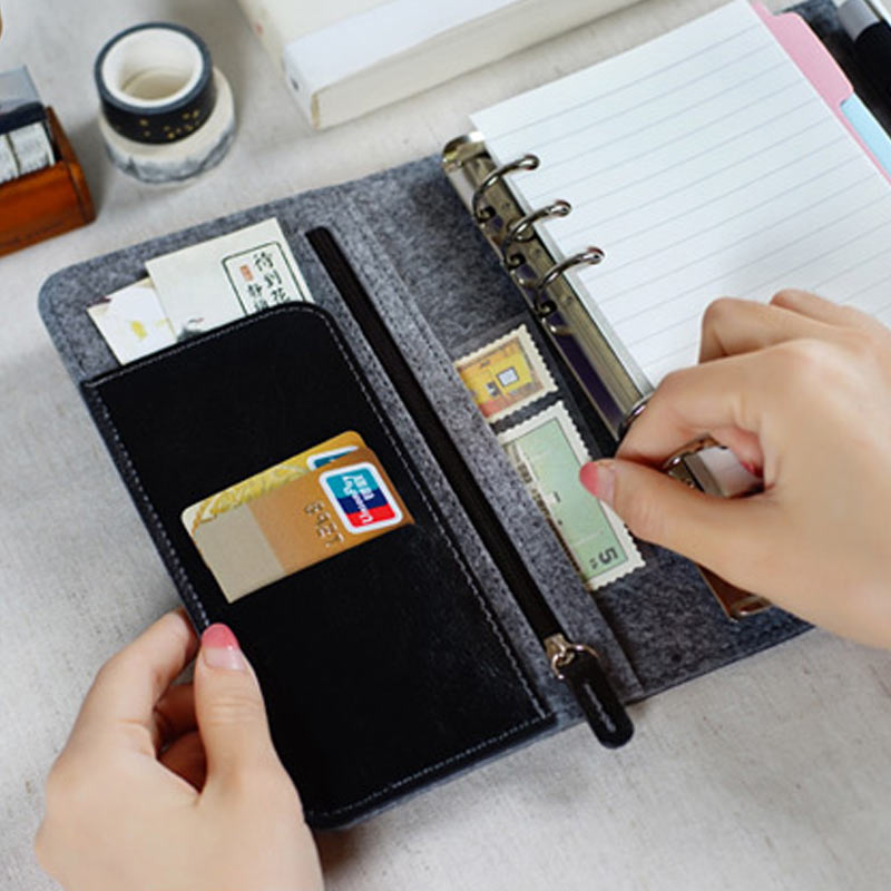 2017 new original a6 a7 pu leather planner travel creative diary planner loose leaf notebook with zip inside bag match lovedoki 2017  Pu leather & Felt Planner A6 Loose Leaf Notebook Vintage Organizer with zip bag inside