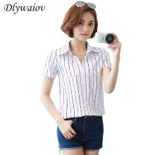 Women Tops Summer Short Sleeve Chiffon Shirt Fashion Stripe Slim Loose Female Lady Blouses Stripe printing pocket Tops shirts все цены