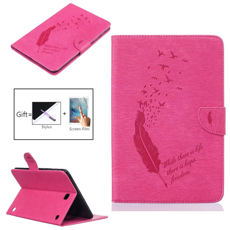 Fashion Feather Print PU Leather Flio Book Style Case For Samsung Galaxy Tab A 8.0 T350 T355 SM-T355 8'' P350/355 Tablet Cover