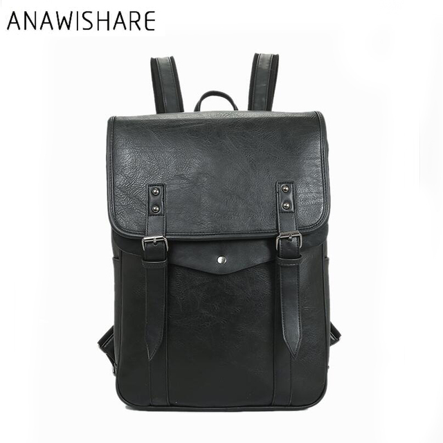 ANAWISHARE Men Leather Backpack School Bags For Teenagers College Students Bookbag  Laptop Backpacks Travel Bags Mochila dc8963775b