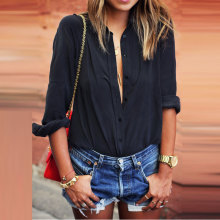 Women Long Sleeve Summer Blouse Nice Sexy Deep V-neck Loose Shirt Casual Solid Black White Chiffon Blouse Plus Size Ladies Pops