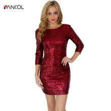 4 Colors 2016 New Style Summer Dress Women O Neck Long Sleeve Pailllette Sequins Red Black Bodycon Slim Pencil Party Dresses