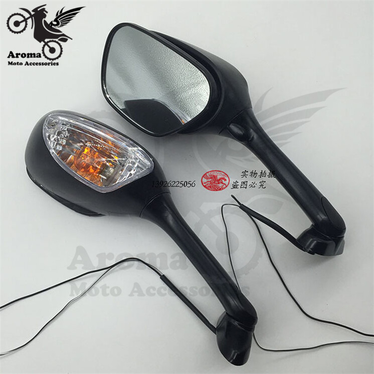LED motorcycle rearview mirror with turn signal light motorbike side mirror for kawasaki universal moto Integrated Indicator hot
