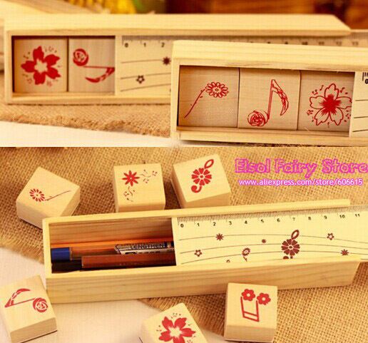 ( 4sets/lot ) wooden box note stamp set , Creative Note Stamp wood pencil box wood ruler set шкатулки trousselier музыкальная шкатулка wooden box жираф