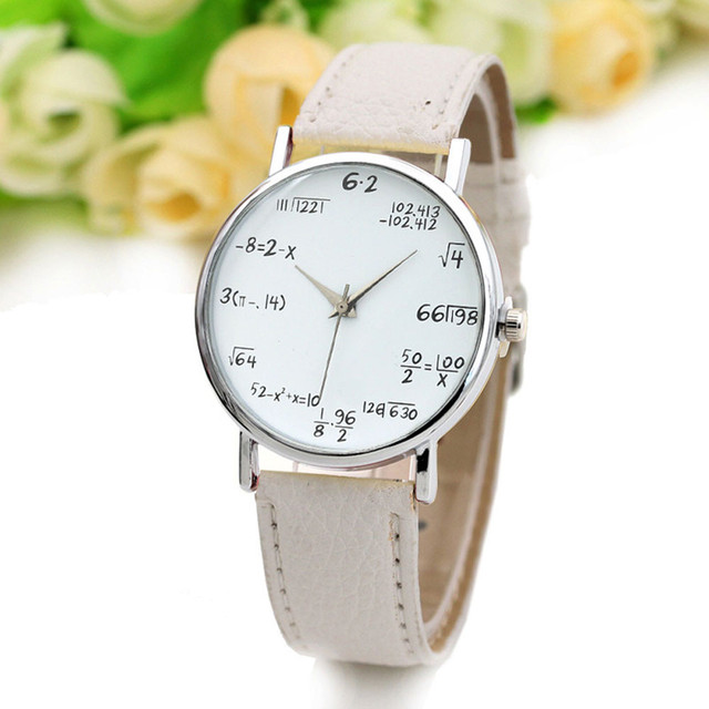 Ladies Watch Fashion Math Function Pattern Leather Band Alloy Analog Quartz Vogu