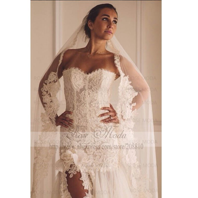 Sweetheart Lace Trumpet Wedding Dress with High Slit 3D Flower ...