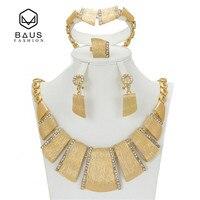 BAUS 2017 hurtownie Exquisite Dubaj Biżuteria Ustaw Luksusowe Złoty Kolor Big Nigeryjczyk Afrykańskie Koraliki Biżuteria Ślubna Zestaw Kostiumów Projekt