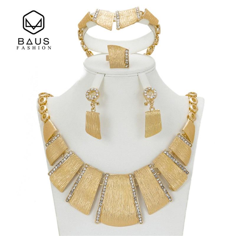 BAUS 2017 wholesale Exquisite Dubai Jewelry Set Luxury Gold Color Big Nigerian Wedding African Beads Jewelry Set Costume Design