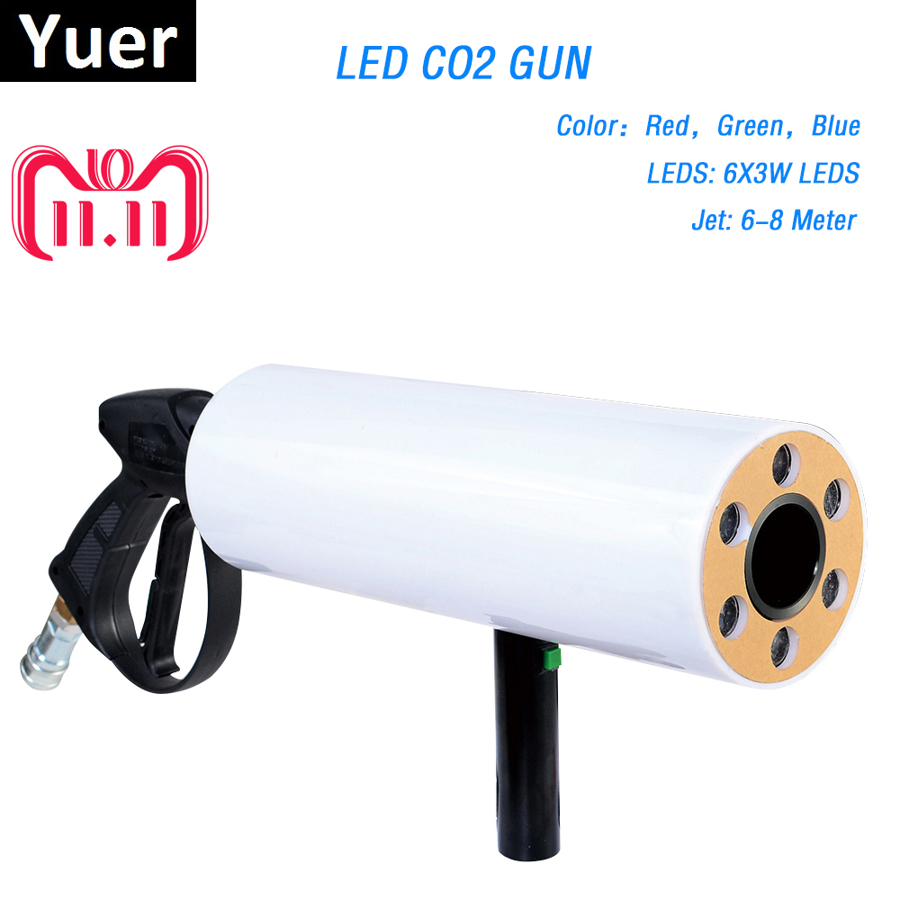 Free Shipping LED CO2 Cryo Club Cannon Cryogenic Special Effects Gun Co2 Jet Machine LED Cryo Gun RGB 6PCSx3w Color Washing led co2 confetti dj gun colorful manual control led co2 cryo jet confetti cannon machine for disco party wedding